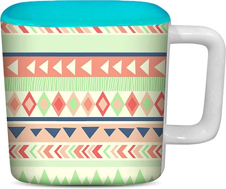 ThinNFat Running Tribal Printed Designer Square Mug - Sky Blue