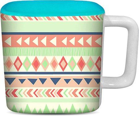 ThinNFat Running Tribal Printed Designer Square Mug - Sky Blue