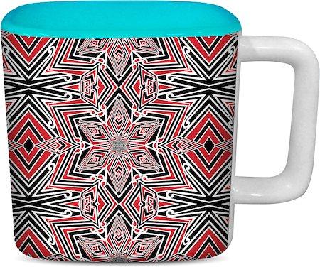 ThinNFat Kaleidoscope Fusion Printed Designer Square Mug - Sky Blue