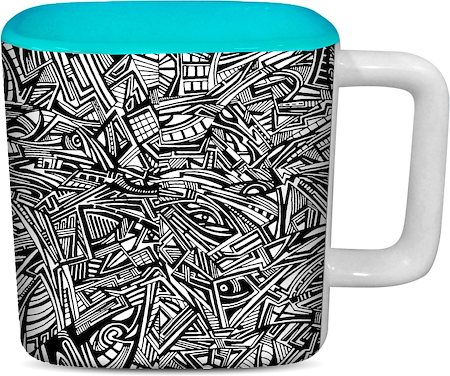 ThinNFat Tribal Art Printed Designer Square Mug - Sky Blue