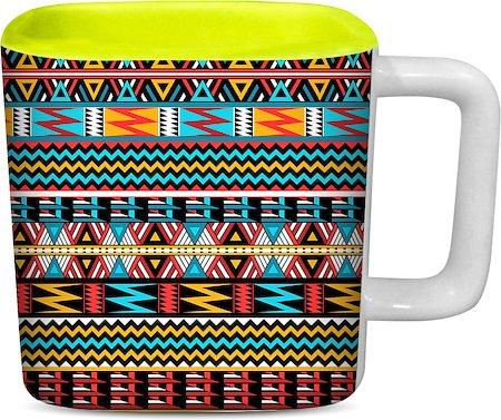 ThinNFat Colourful Art Printed Designer Square Mug - Light Green