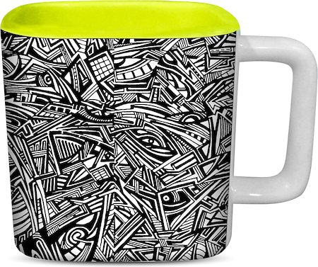 ThinNFat Tribal Art Printed Designer Square Mug - Light Green