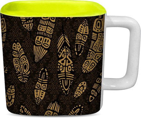 ThinNFat Tribal Feather Printed Designer Square Mug - Light Green