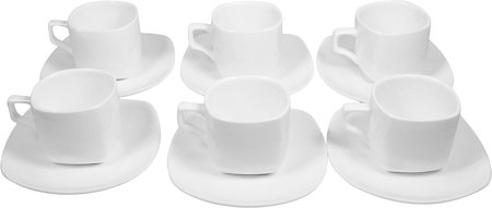 Wilmax ENGLAND Fine Porcelain Tea Cup and Saucer, 200 ml (White) - set of 6