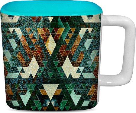 ThinNFat Hardrock Printed Designer Square Mug - Sky Blue