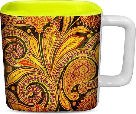 ThinNFat Paisley Art Printed Designer Square Mug - Light Green