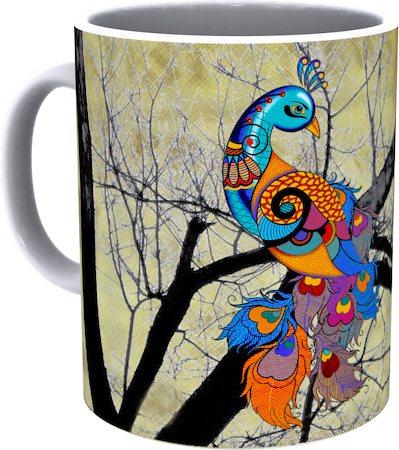Kolorobia Peacock Cream Mug