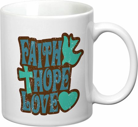 Prithish Faith Hope Love With Cross White Mug