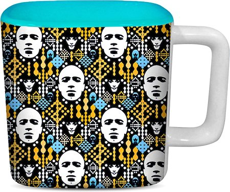 ThinNFat Electronic Pattern Printed Designer Square Mug - Sky Blue