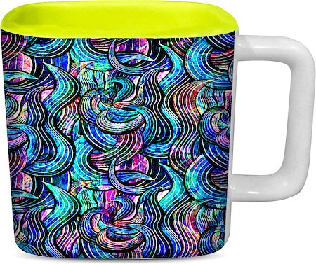 ThinNFat Rainbow Wave Printed Designer Square Mug - Light Green