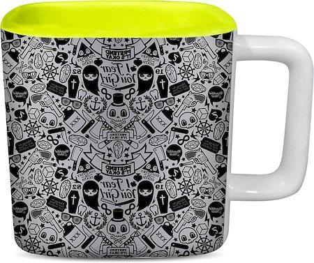 ThinNFat Doodle Art Printed Designer Square Mug - Light Green