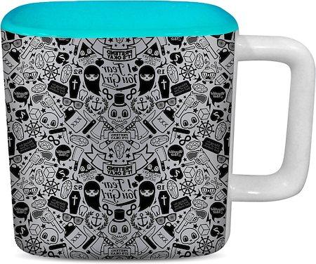ThinNFat Doodle Art Printed Designer Square Mug - Sky Blue