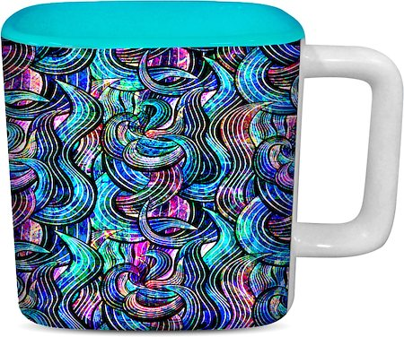 ThinNFat Rainbow Wave Printed Designer Square Mug - Sky Blue