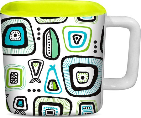 ThinNFat Doodle Design Printed Square Mug - Light Green