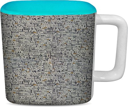 ThinNFat Slum City Printed Designer Square Mug - Sky Blue
