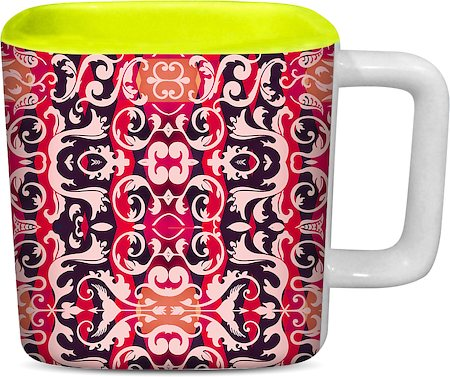 ThinNFat Decorative Printed Designer Square Mug - Light Green