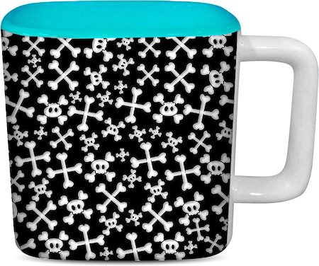 ThinNFat Skull Candy Printed Designer Square Mug - Sky Blue