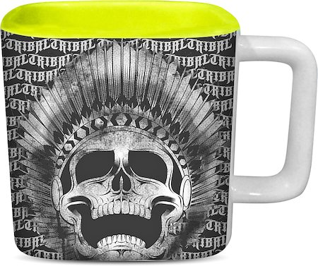 ThinNFat Tribal Feather Skull Printed Designer Square Mug - Light Green