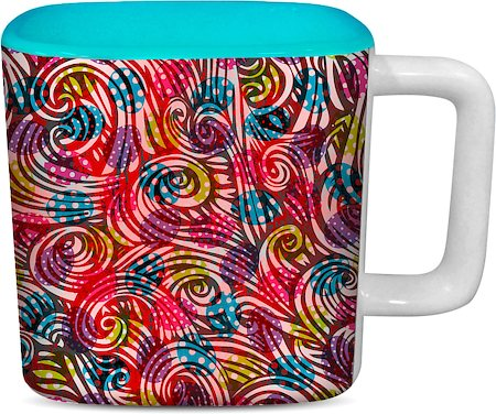 ThinNFat Colourful Egg Printed Designer Square Mug - Sky Blue