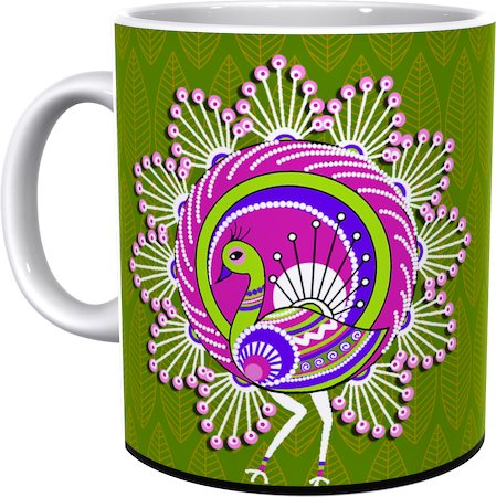 Kolorobia Elegant Warli Peacock Classic White Mug