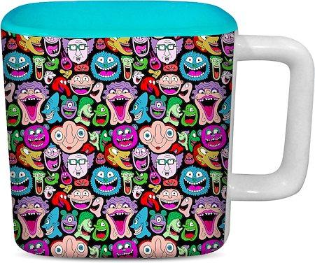 ThinNFat Doodle Faces Printed Designer Square Mug - Sky Blue