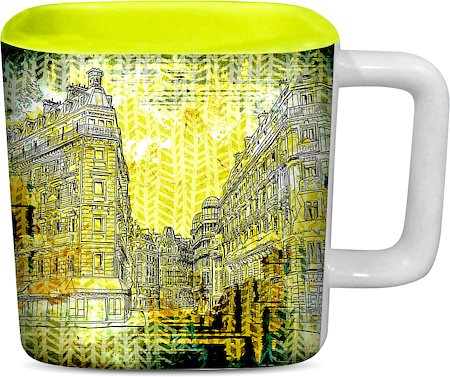 ThinNFat Distort Buildings Printed Designer Square Mug - Light Green
