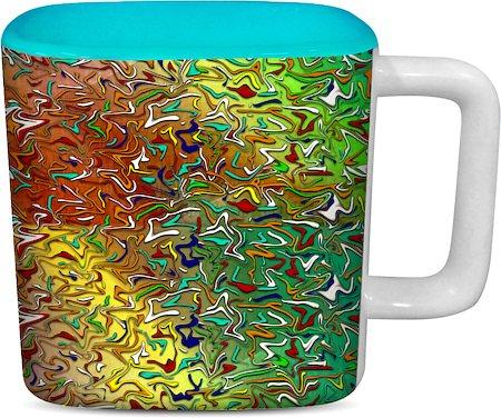ThinNFat Colourful splash Printed Designer Square Mug - Sky Blue