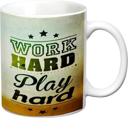 Prithish Work Hard Play Hard White Mug