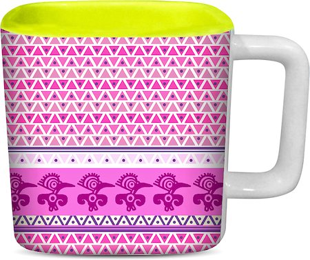 ThinNFat Pink Pigeon Tribal Printed Designer Square Mug - Light Green