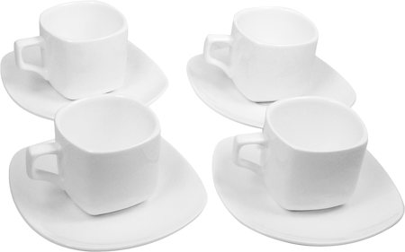 Wilmax ENGLAND Fine Porcelain Tea Cup and Saucer, 200 ml (White) - set of 4