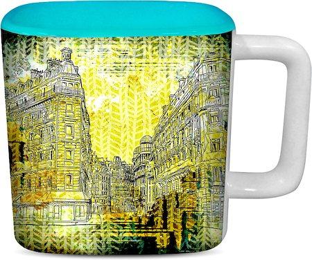 ThinNFat Distort Buildings Printed Designer Square Mug - Sky Blue