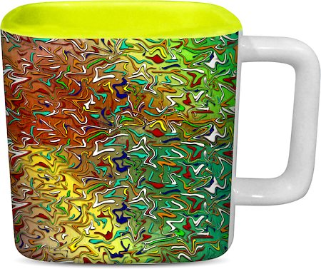 ThinNFat Colourful-Splash Printed Designer Square Mug - Light Green