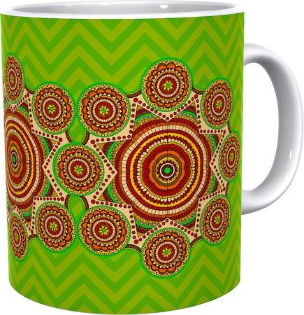 Kolorobia Soothing Green Madhubani Classic White Mug
