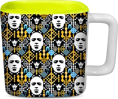 ThinNFat Electronic Pattern Printed Designer Square Mug - Light Green