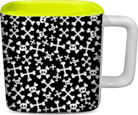 ThinNFat Skull Candy Printed Designer Square Mug - Light Green