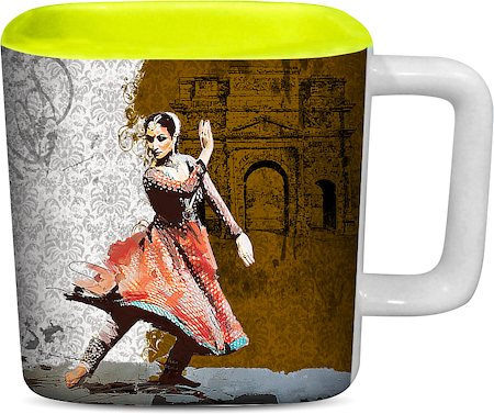 ThinNFat Bharat Natiyam Printed Designer Square Mug - Light Green