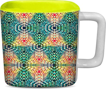 ThinNFat Trance Fusion Printed Designer Square Mug - Light Green