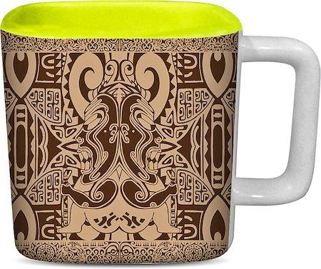 ThinNFat Tikki Design Printed Square Mug - Light Green