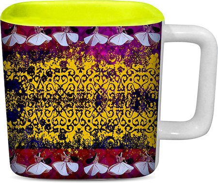 ThinNFat Sufi Design Printed Square Mug - Light Green