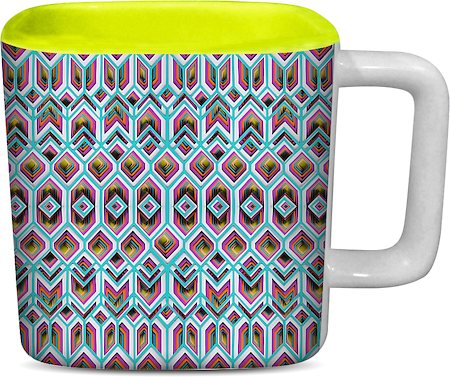 ThinNFat Rangeela Chatta Printed Designer Square Mug - Light Green