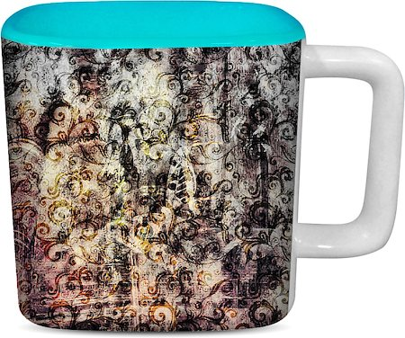 ThinNFat Smoky Palace Printed Designer Square Mug - Sky Blue