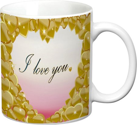 Prithish Pink And Gold Heart, I Love You White Mug