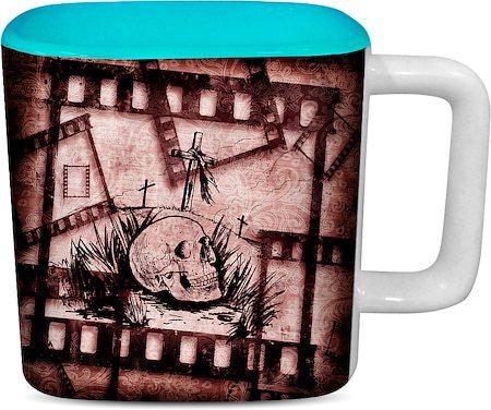 ThinNFat Skull Grave Printed Designer Square Mug - Sky Blue