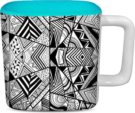 ThinNFat Geometric Pattern Printed Designer Square Mug - Sky Blue