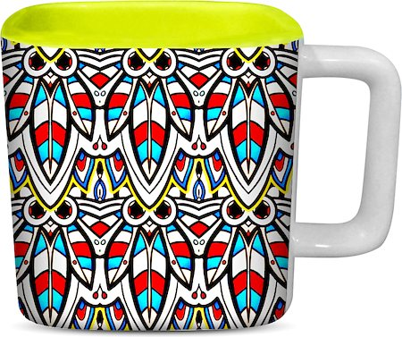 ThinNFat Colourful Bee Printed Designer Square Mug - Light Green