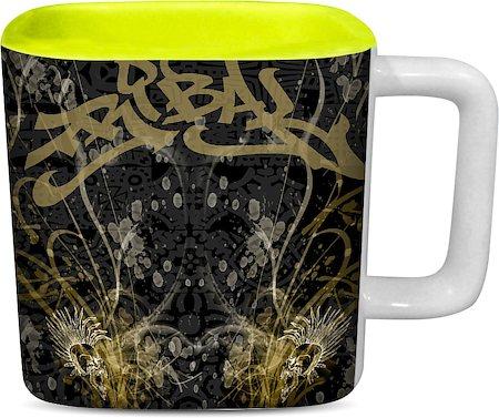 ThinNFat Arabian Graffiti Tribal Printed Designer Square Mug - Light Green