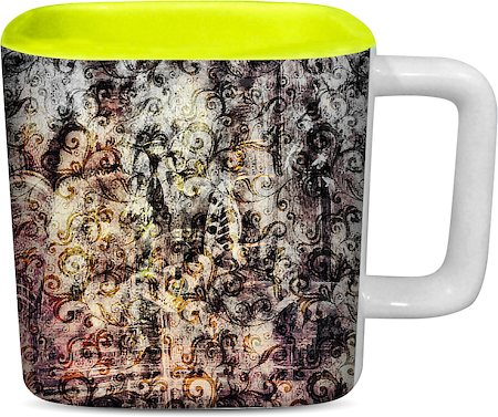 ThinNFat Smoky Palace Printed Designer Square Mug - Light Green