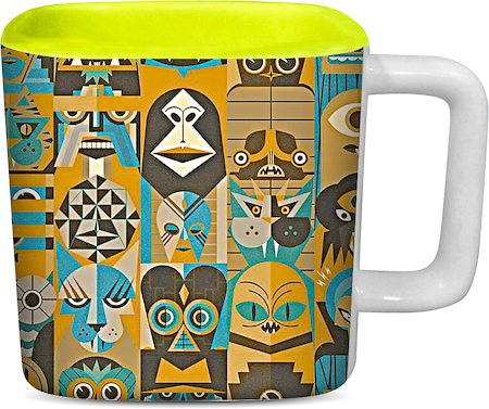 ThinNFat Halloween Printed Designer Square Mug - Light Green