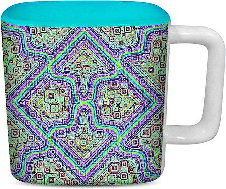 ThinNFat Pycadelic Fusion Printed Designer Square Mug - Sky Blue