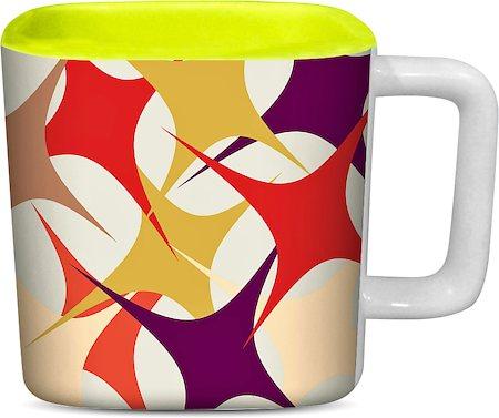ThinNFat Stars Printed Designer Square Mug - Light Green